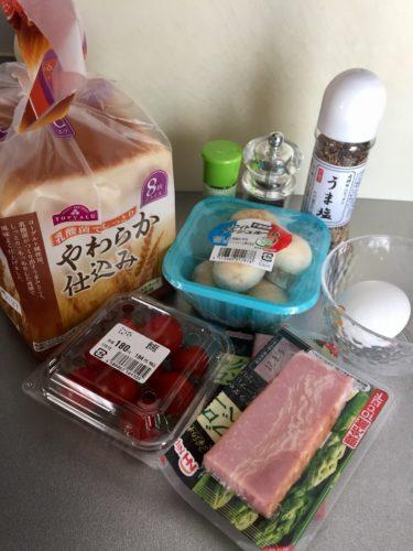 厚切りベーコンとパンのソテー3