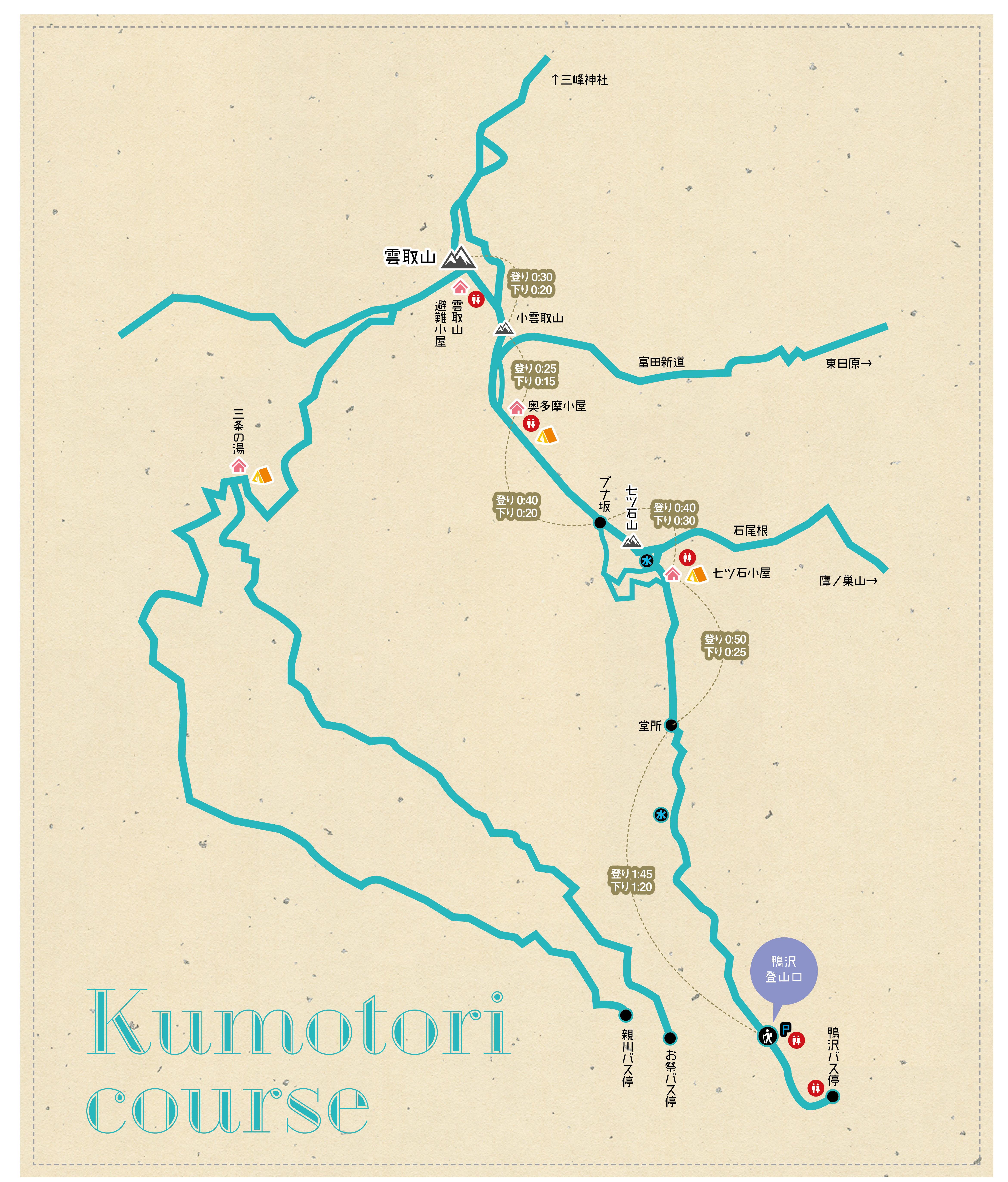 雲取山コースmap